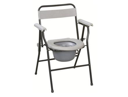 Folding Steel Commode Chair With Plastic Armrests&Backrest